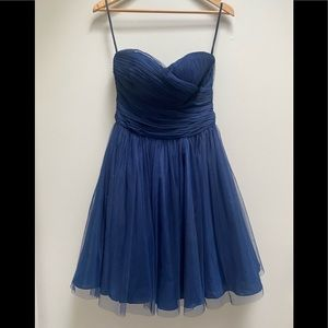 Minuet Navy Blue Tulle Strapless Cocktail Party Dress S NWT